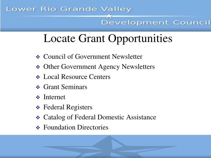 Locate Grant Opportunities