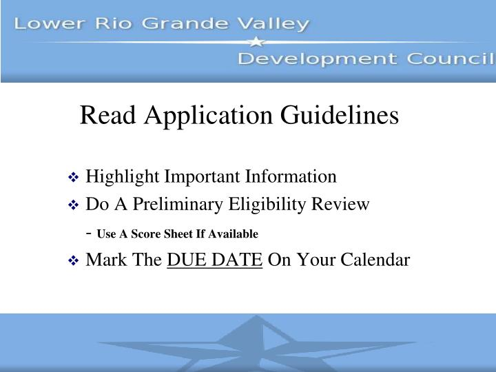 Read Application Guidelines