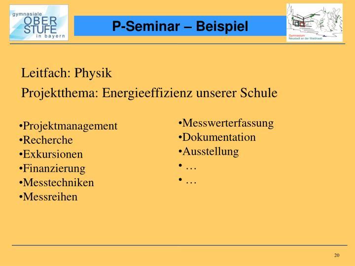 P-Seminar – Beispiel