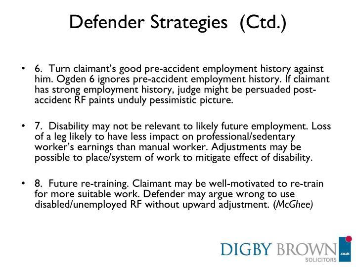 Defender Strategies  (