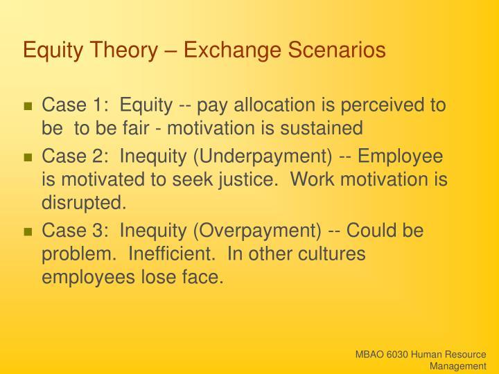 Equity Theory – Exchange Scenarios