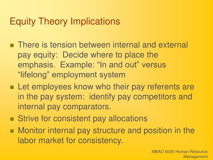 Equity Theory Implications