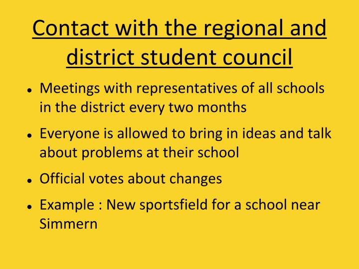 Contact with the regional and district student council