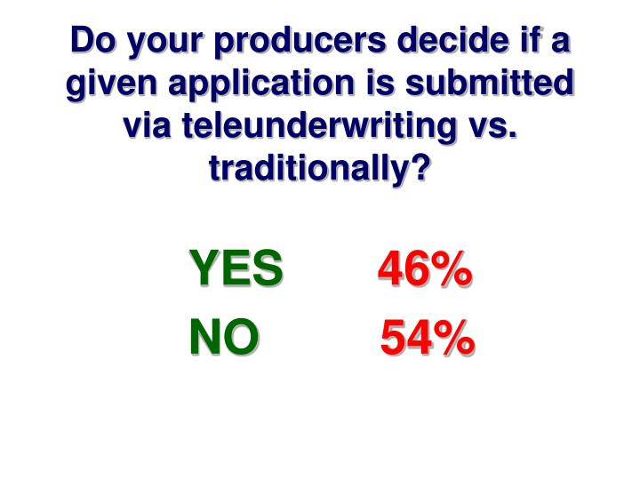 Do your producers decide if a given application is submitted via teleunderwriting vs. traditionally?