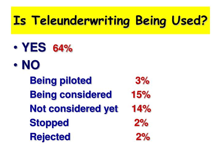 Is Teleunderwriting Being Used?