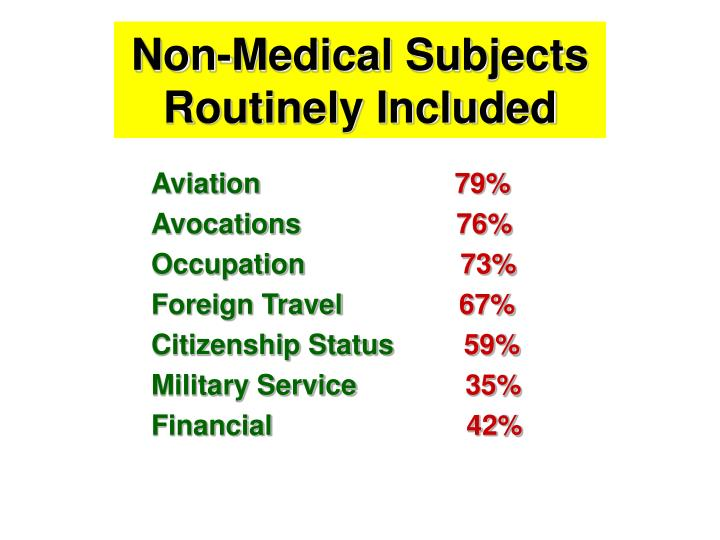 Non-Medical Subjects