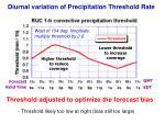 diurnal variation of precipitation threshold rate