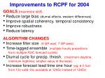 improvements to rcpf for 2004