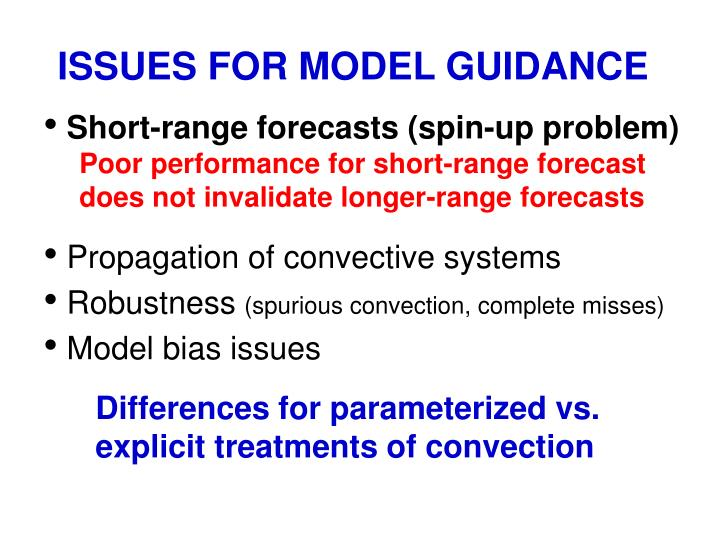 ISSUES FOR MODEL GUIDANCE