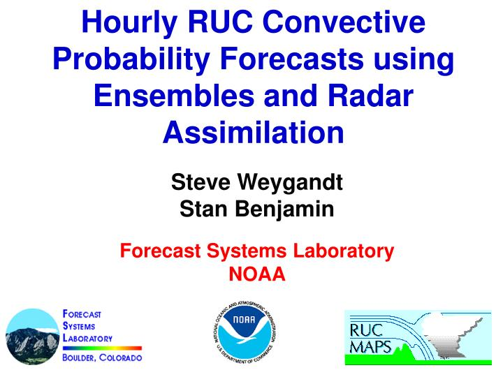 Hourly RUC Convective Probability Forecasts using Ensembles and Radar Assimilation