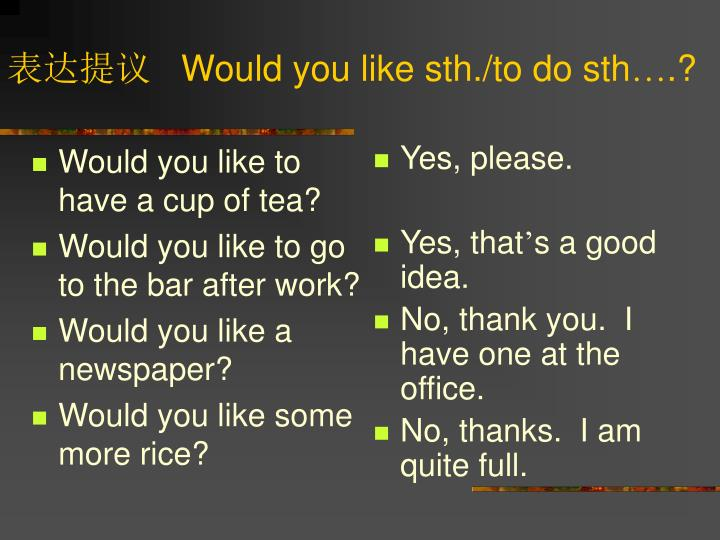 Would you like to have a cup of tea?