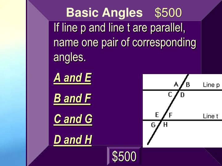 If line p and line t are parallel, name one pair of corresponding angles.