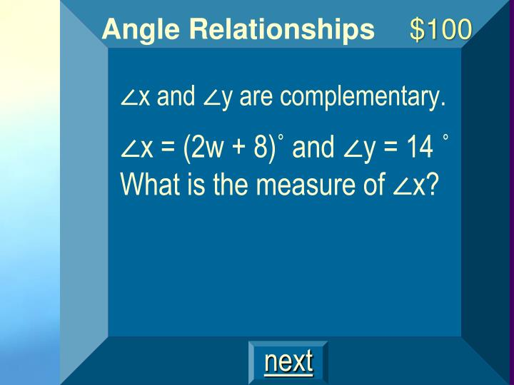 ∠x and ∠y are complementary.