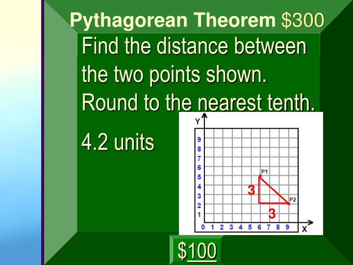 Find the distance between the two points shown. Round to the nearest tenth.