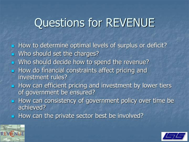 Questions for REVENUE