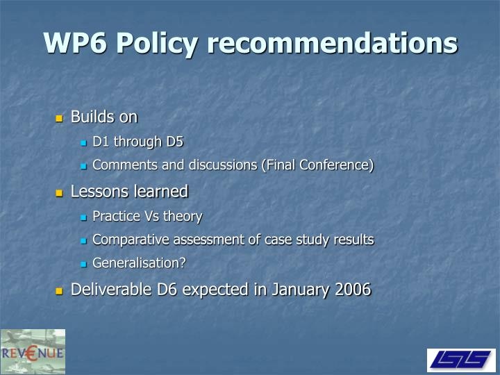 WP6 Policy recommendations