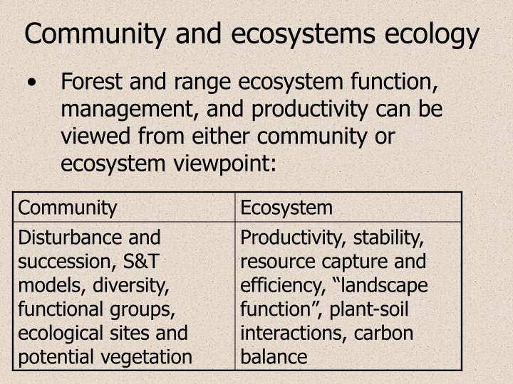 Community and ecosystems ecology