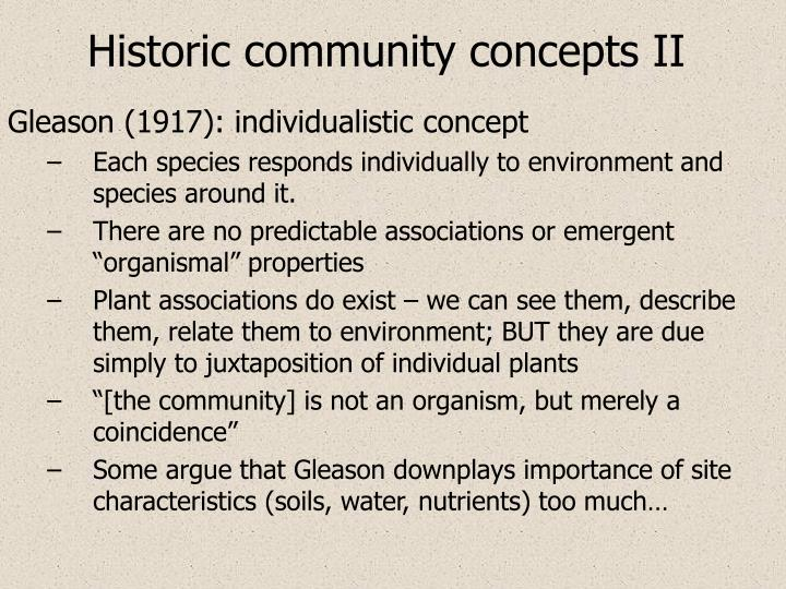 Historic community concepts II