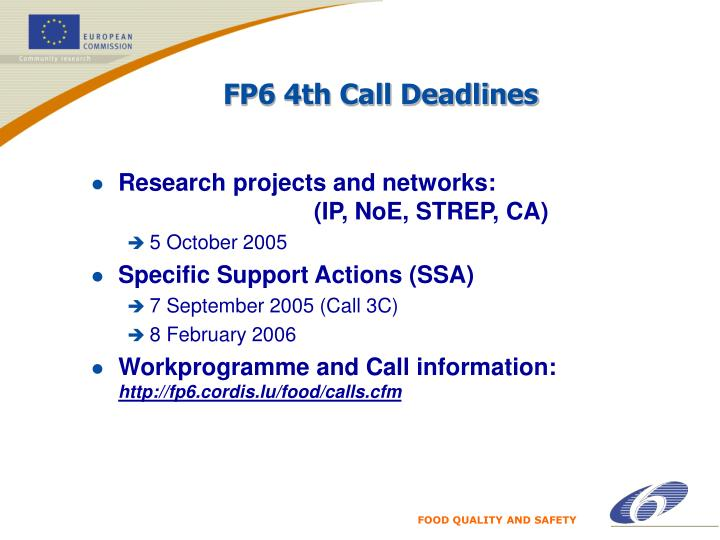 FP6 4th Call Deadlines