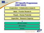 fp7 specific programmes 2007 2013