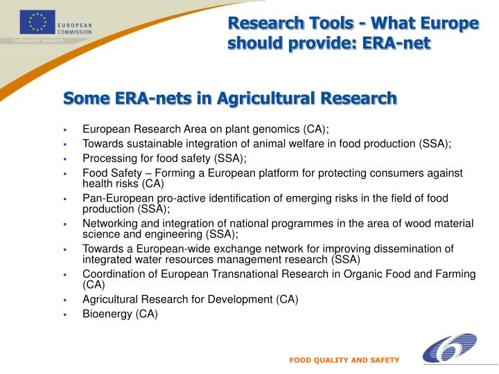Research Tools - What Europe should provide: ERA-net
