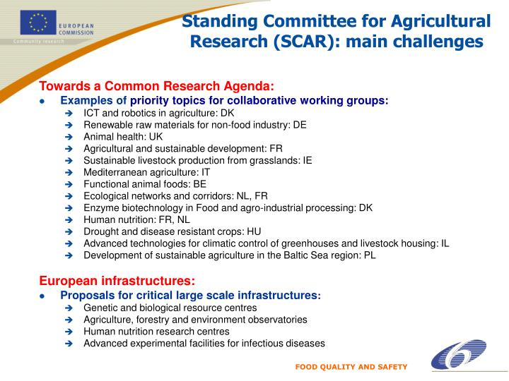 Standing Committee for Agricultural Research (SCAR): main challenges