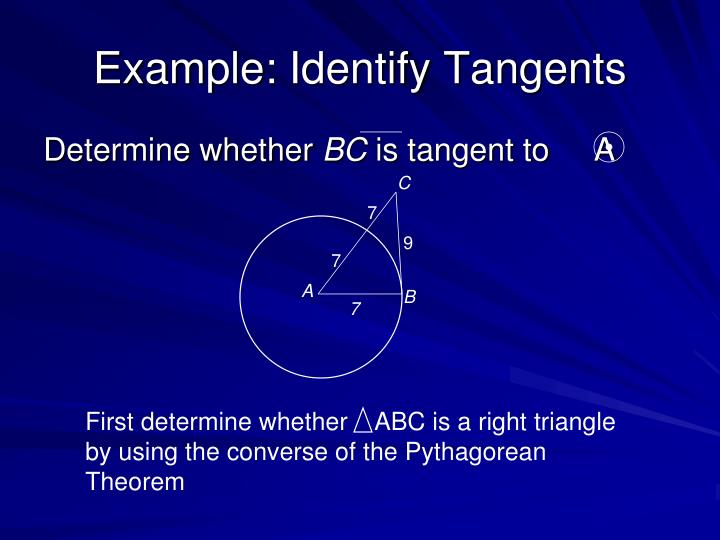 Example: Identify Tangents