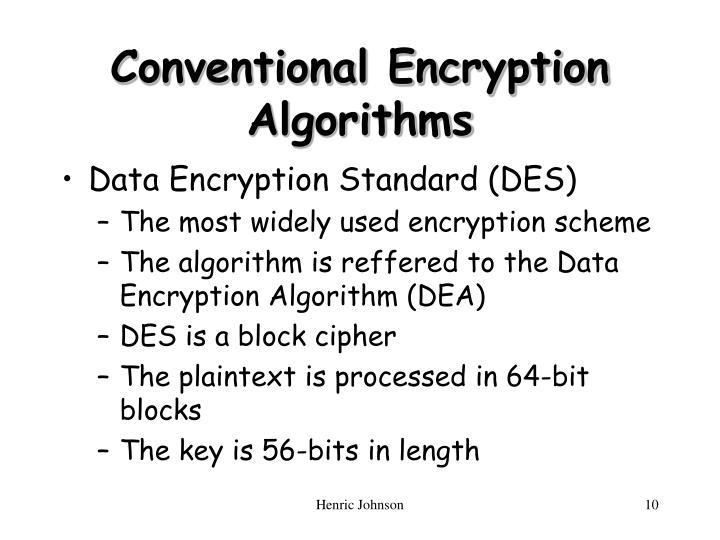 Conventional Encryption Algorithms