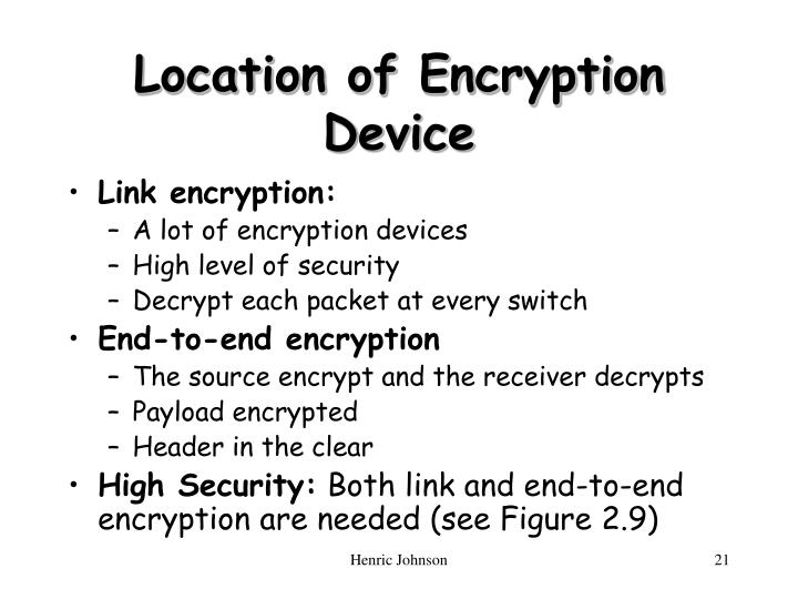Location of Encryption Device