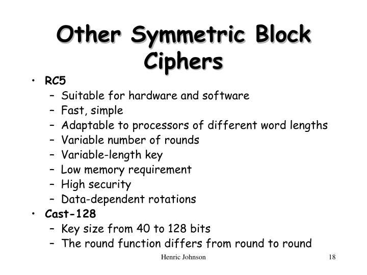 Other Symmetric Block Ciphers