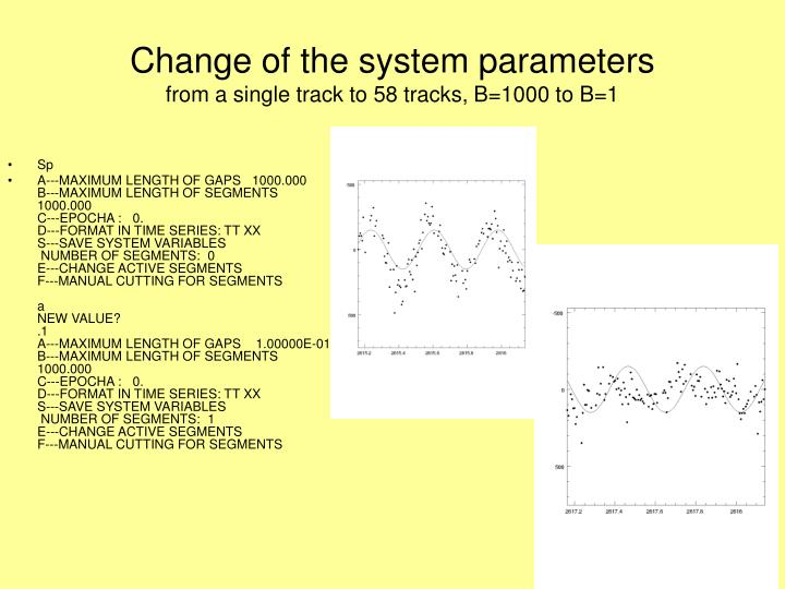 Change of the system parameters