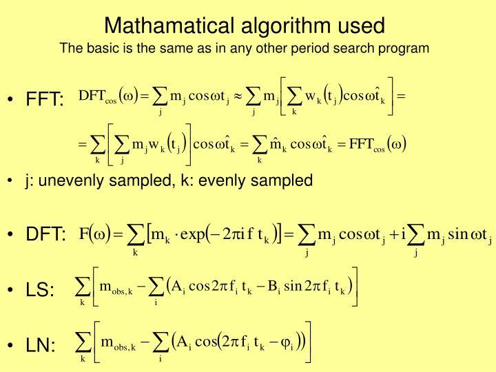 Mathamatical algorithm used