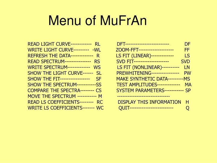 Menu of MuFrAn