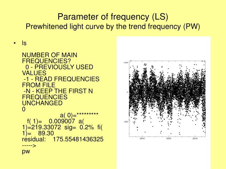 Parameter of frequency (LS)