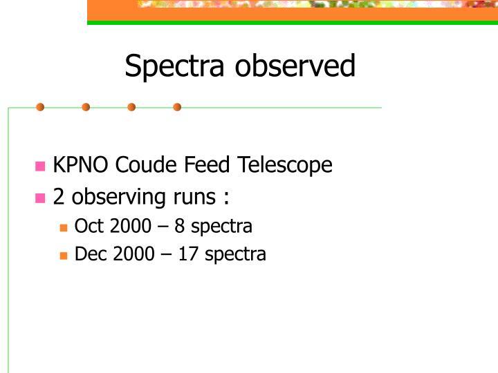 Spectra observed
