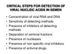 critical steps for detection of viral nucleic acids in semen