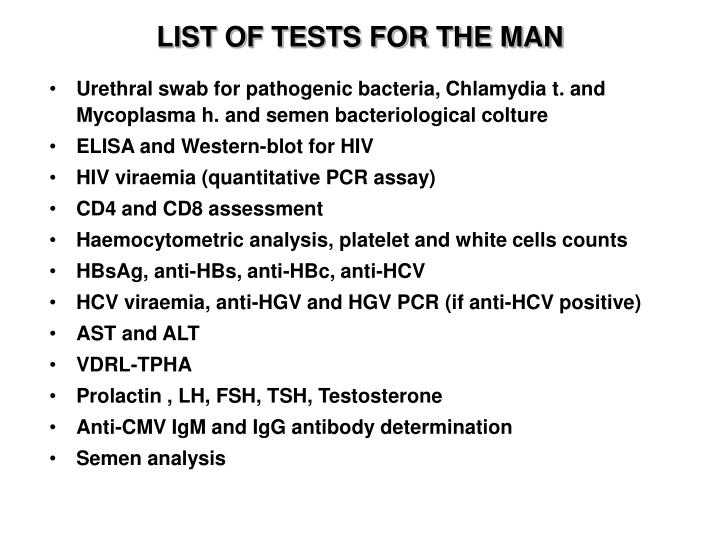 LIST OF TESTS FOR THE MAN