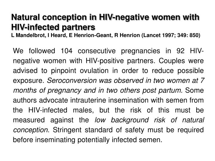 Natural conception in HIV-negative women with HIV-infected partners
