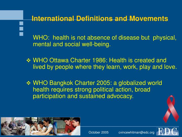 International Definitions and Movements