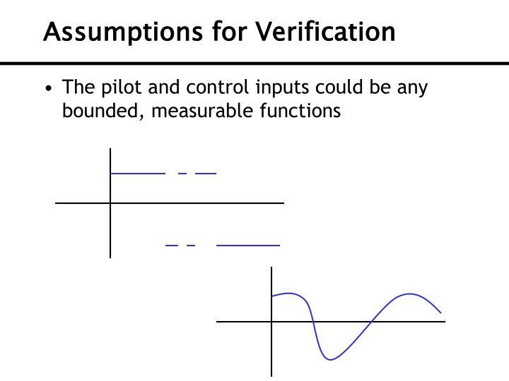 Assumptions for Verification
