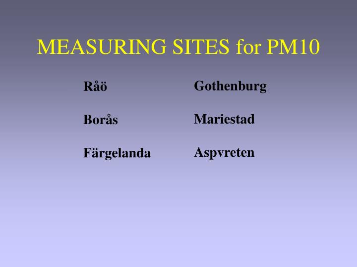 MEASURING SITES for PM10