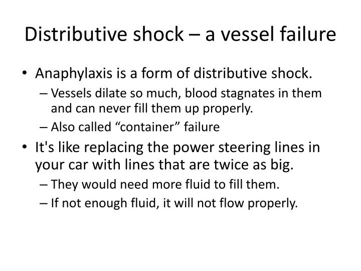 Distributive shock – a vessel failure