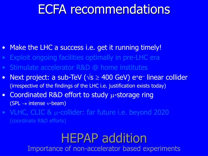 ECFA recommendations