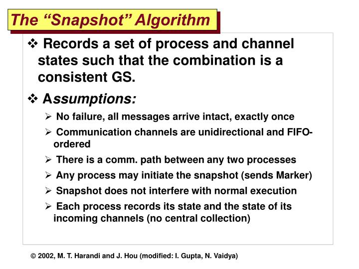 "The ""Snapshot"" Algorithm"