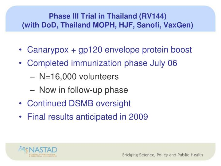 Phase III Trial in Thailand (RV144)