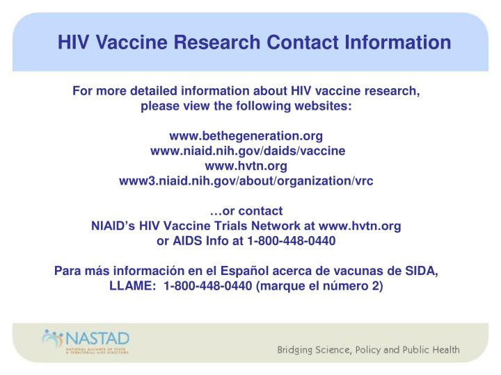 HIV Vaccine Research Contact Information