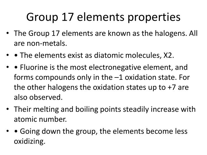 Group 17 elements properties