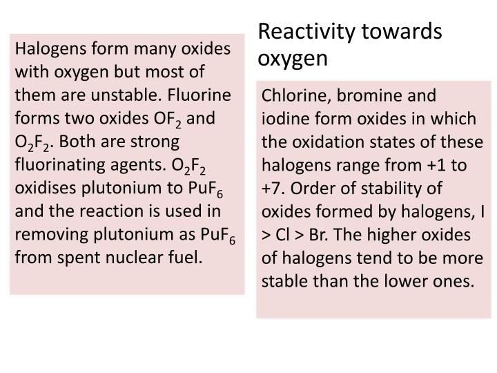 Reactivity towards oxygen