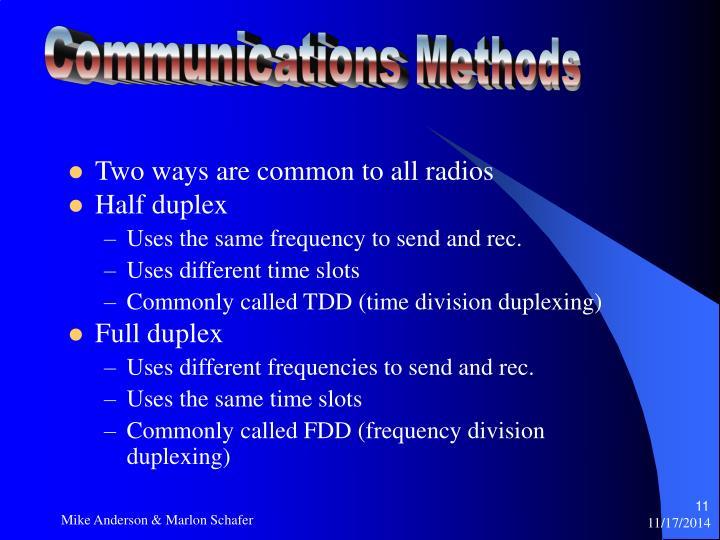 Communications Methods