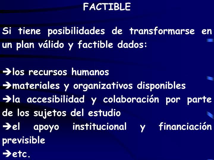 FACTIBLE